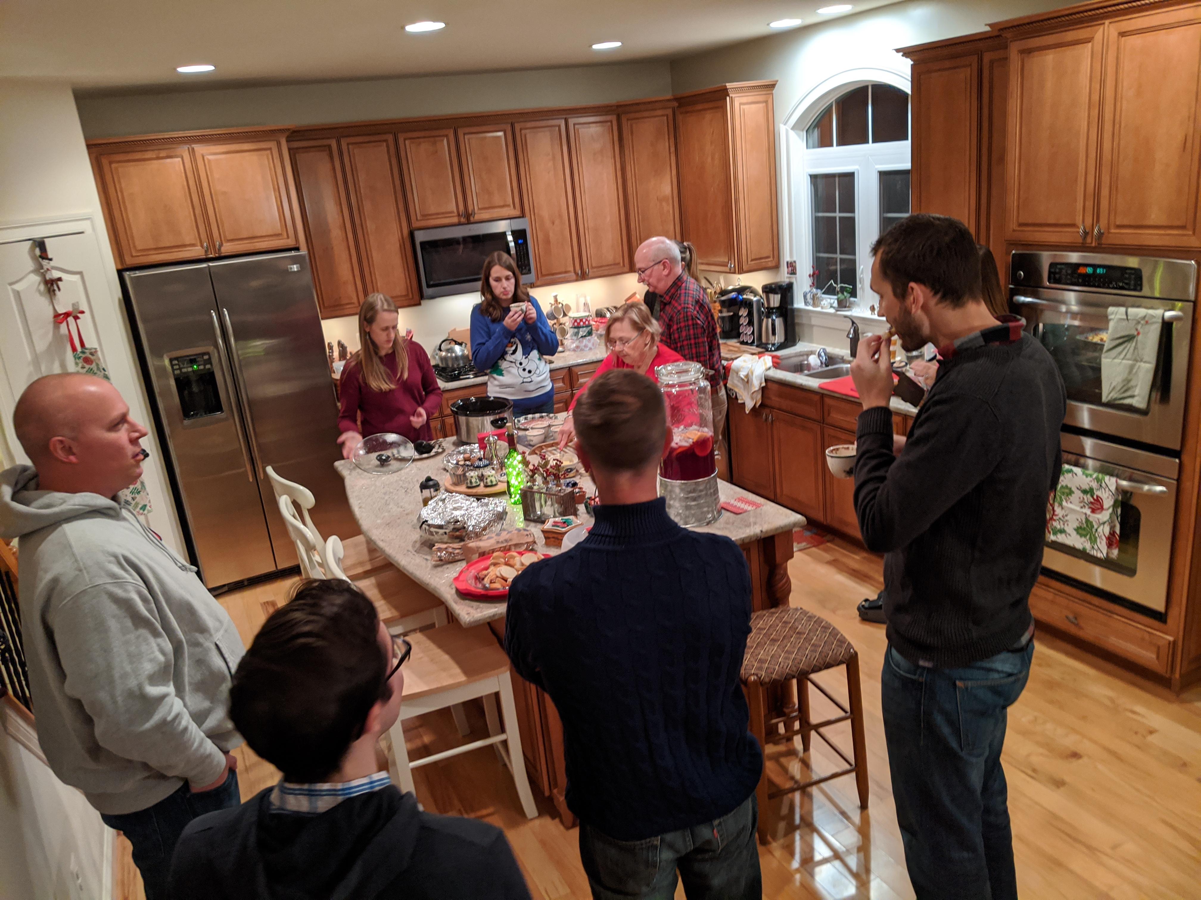 Small group Christmas gathering